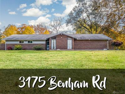 Tipp City Single Family Home For Sale: 3175 Benham Road
