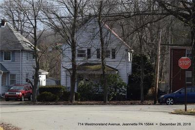 Jeannette Single Family Home For Sale: 714 Westmoreland Avenue