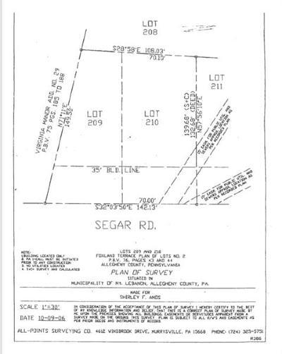 Mt. Lebanon Residential Lots & Land For Sale: 209/210 Segar Rd.