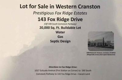 Cranston RI Residential Lots & Land For Sale: $210,000