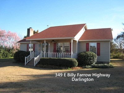 Darlington Single Family Home For Sale: 349 E Billy Farrow Highway