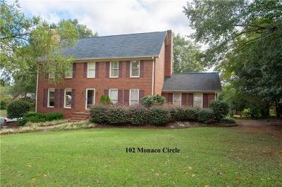 Clemson Single Family Home For Sale: 102 Monaco Circle