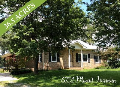 Cookeville Single Family Home For Sale: 6751 Mount Herman Rd