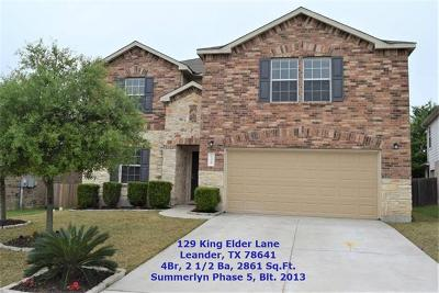 Leander Single Family Home For Sale: 129 King Elder Ln