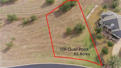 Barton Creek Lakeside, Barton Creek Lakeside Ph 01, Barton Creek Lakeside Ph 03, Barton Creek Lakeside The Ranch, Barton Creek Lakeside, Ranch Section 10, Barton Creek Lakeside/Ranch Sec 3, Barton Creek Lakeside/The Ranch Residential Lots & Land For Sale: 106 Quail Pt