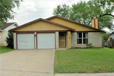Hays County, Travis County, Williamson County Single Family Home Pending - Taking Backups: 210 Clearday Dr