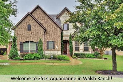 Round Rock Single Family Home For Sale: 3514 Aquamarine Dr