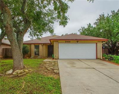 Round Rock Single Family Home For Sale: 2406 Clearwater Trl