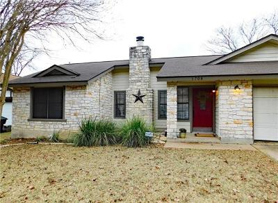 Round Rock Single Family Home For Sale: 1708 Wild Horse Ln