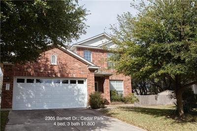 Cedar Park Rental For Rent: 2305 Barnett Dr