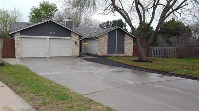 Round Rock Single Family Home For Sale: 1106 Parkwood Cv