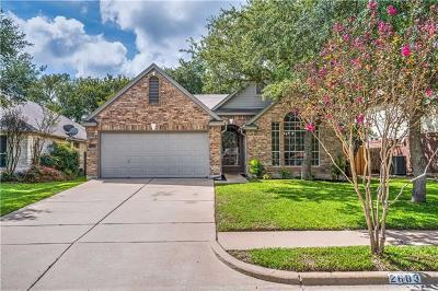 Cedar Park Single Family Home For Sale: 2603 Melba Pass