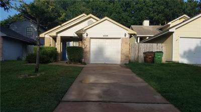 Round Rock Single Family Home Pending - Taking Backups: 2245 Jasmine Path