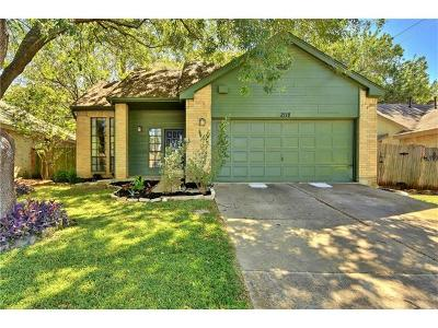 Travis County, Williamson County Single Family Home For Sale: 2118 Zephyr Ln