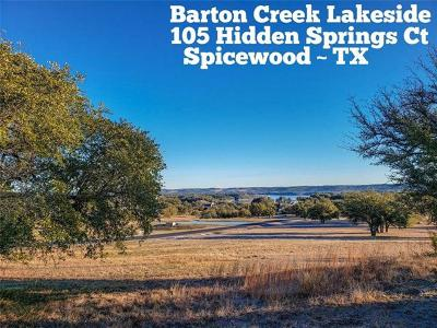 Barton Creek Lakeside, Barton Creek Lakeside Ph 01, Barton Creek Lakeside Ph 03, Barton Creek Lakeside The Ranch, Barton Creek Lakeside, Ranch Section 10, Barton Creek Lakeside/Ranch Sec 3, Barton Creek Lakeside/The Ranch Residential Lots & Land For Sale: 105 Hidden Springs Ct