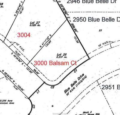 Bryan Residential Lots & Land For Sale: 3000 Balsam Court