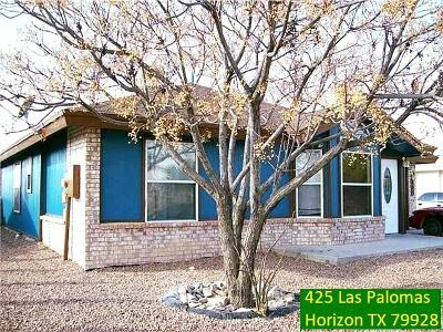 Horizon City Single Family Home For Sale: 425 Las Palomas Drive