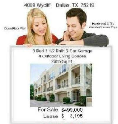 Dallas Townhouse For Sale: 4009 Wycliff Avenue