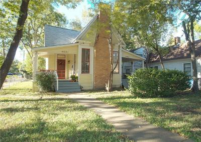 Dallas Single Family Home For Sale: 4603 Sycamore Street
