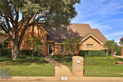 Abilene Single Family Home For Sale: 12 Cypress Point Street