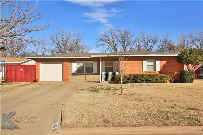 Abilene Single Family Home Active Option Contract: 1409 Bel Air Drive