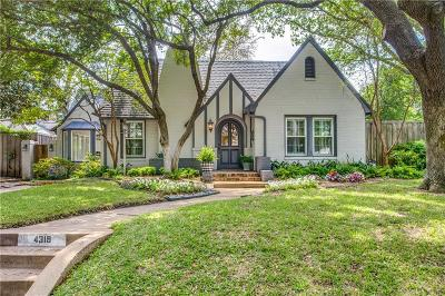 Dallas Single Family Home For Sale: 4319 N Hall Street