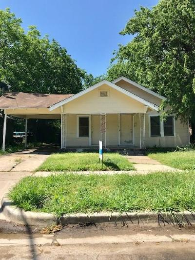 Fort Worth TX Single Family Home For Sale: $74,000