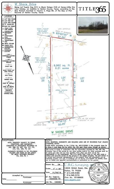 The Colony Residential Lots & Land For Sale: 7613 W Shore Drive