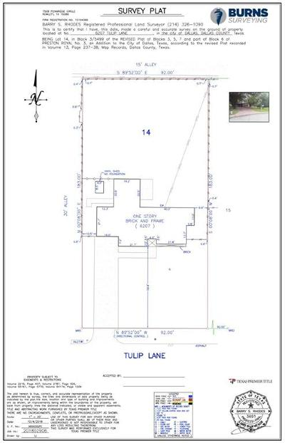 Dallas County Residential Lots & Land For Sale: 6207 Tulip Lane