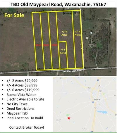 Waxahachie Residential Lots & Land Active Kick Out: Tbd Old Maypearl Road
