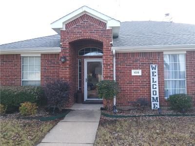 Wylie Single Family Home Active Option Contract: 100 S Bending Oak Lane
