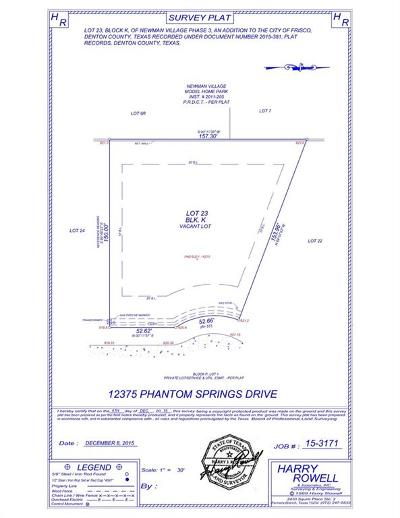 Frisco Residential Lots & Land For Sale: 12375 Phantom Springs Drive