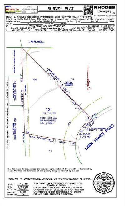 Dallas County Residential Lots & Land For Sale: 11107 Lawnhaven Road