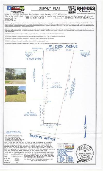 Tarrant County Residential Lots & Land For Sale: 803 W Enon Avenue