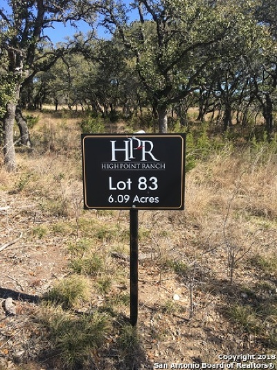 Boerne Residential Lots & Land For Sale: Lot 83 High Point Ranch Rd