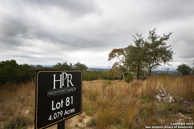 Boerne Residential Lots & Land New: 81 High Point Ranch Rd