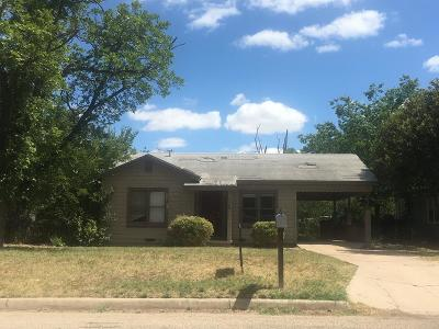 San Angelo TX Single Family Home For Sale: $45,000