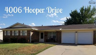 Wichita Falls Single Family Home For Sale: 4006 Hooper Drive