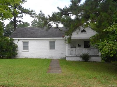 Petersburg VA Single Family Home For Sale: $93,900