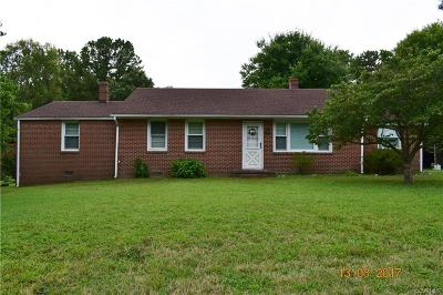 Dinwiddie VA Single Family Home For Sale: $120,000