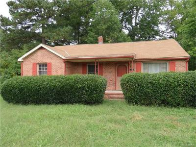 Prince George VA Single Family Home For Sale: $75,000