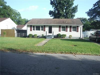 Hopewell VA Single Family Home For Sale: $88,500