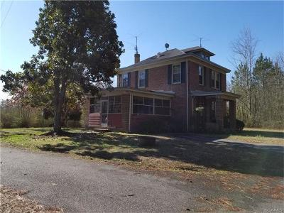 Dinwiddie Single Family Home For Sale: 21805 Boydton Plank Road