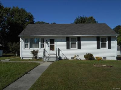 Hopewell VA Single Family Home For Sale: $124,999