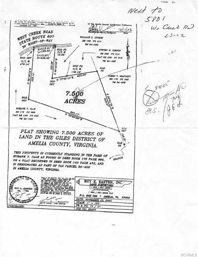 Amelia County Residential Lots & Land For Sale: 0000 West Creek Road