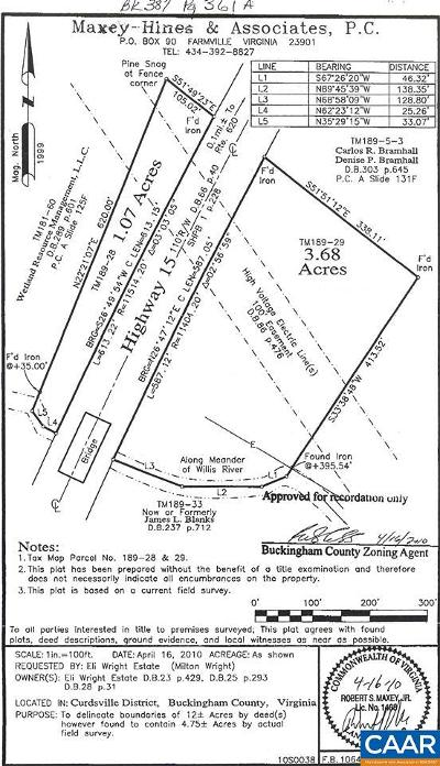 Buckingham County Lots & Land For Sale: 10179 S James Madison Hwy