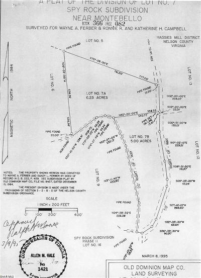 Nelson County Lots & Land For Sale: Tbd1 Spy Rock Rd