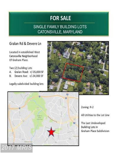 Catonsville Residential Lots & Land For Sale: Gralan Road