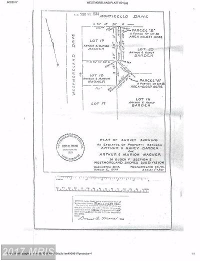 Colonial Beach Residential Lots & Land For Sale: Westmoreland Drive