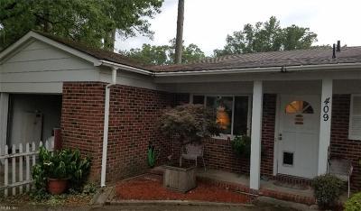 Newport News Single Family Home New Listing: 409 Aspen Dr
